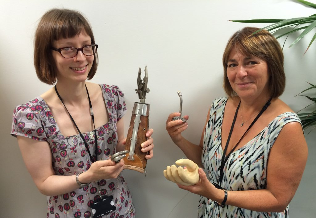 Judith & Denise with the antique prosthetics